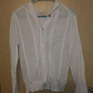 Michael Kors Button Back Open Knit Sweater